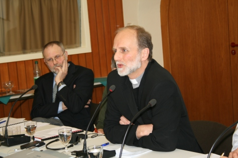 "Presentation by Fr. Borys Gudziak (right), rector of the Ukrainian Catholic University in Lviv, on the topic: ""The Church and Society in Ukraine twenty years after the Fall of the Iron Curtain."" Father Marko Tomashek (left) Director of Projects – ACN International."